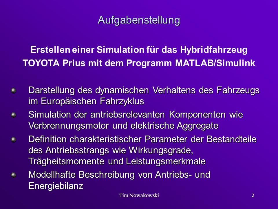 Tim Nowakowski2 Aufgabenstellung Erstellen einer Simulation für das Hybridfahrzeug TOYOTA Prius mit dem Programm MATLAB/Simulink Darstellung des dynam
