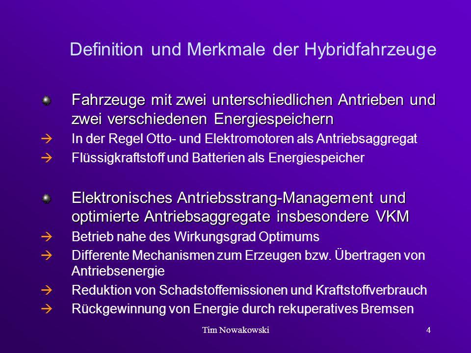 Tim Nowakowski4 Definition und Merkmale der Hybridfahrzeuge Fahrzeuge mit zwei unterschiedlichen Antrieben und zwei verschiedenen Energiespeichern In