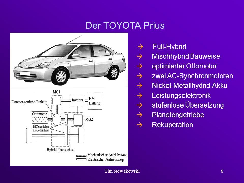 Tim Nowakowski6 Der TOYOTA Prius Full-Hybrid Mischhybrid Bauweise optimierter Ottomotor zwei AC-Synchronmotoren Nickel-Metallhydrid-Akku Leistungselek