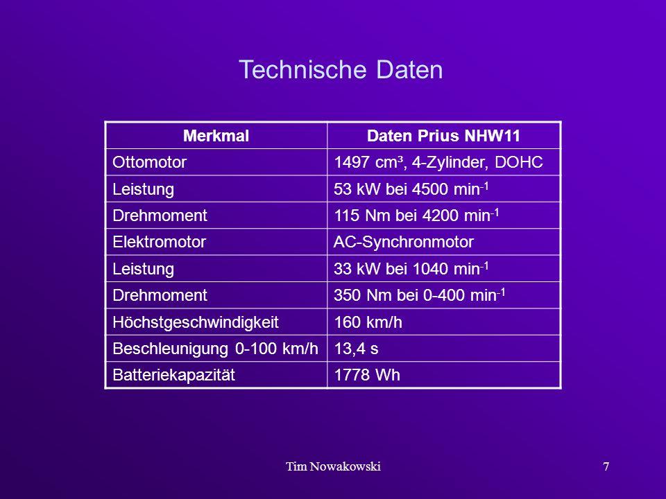 Tim Nowakowski7 Technische Daten MerkmalDaten Prius NHW11 Ottomotor1497 cm³, 4-Zylinder, DOHC Leistung53 kW bei 4500 min -1 Drehmoment115 Nm bei 4200