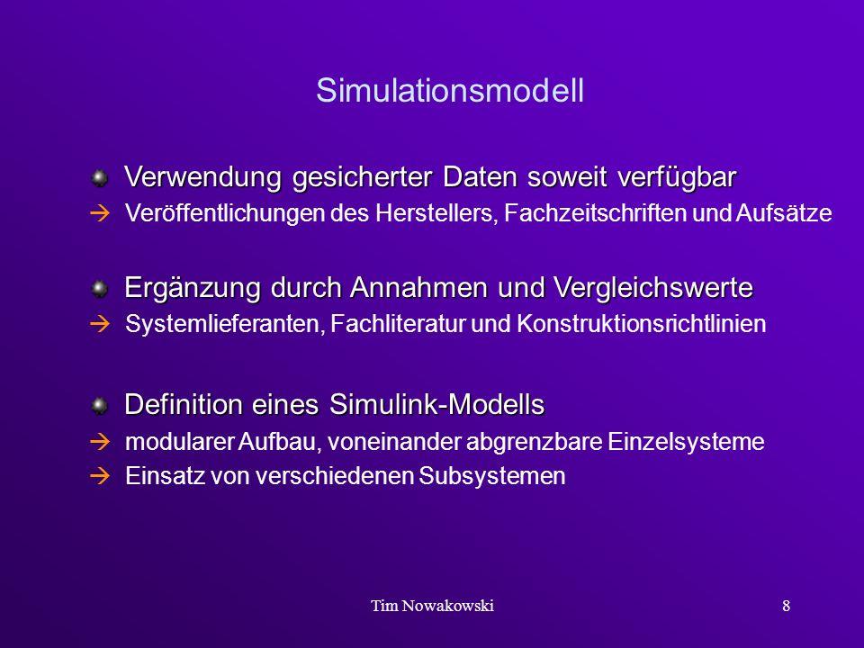 Tim Nowakowski8 Simulationsmodell Verwendung gesicherter Daten soweit verfügbar Verwendung gesicherter Daten soweit verfügbar Veröffentlichungen des H