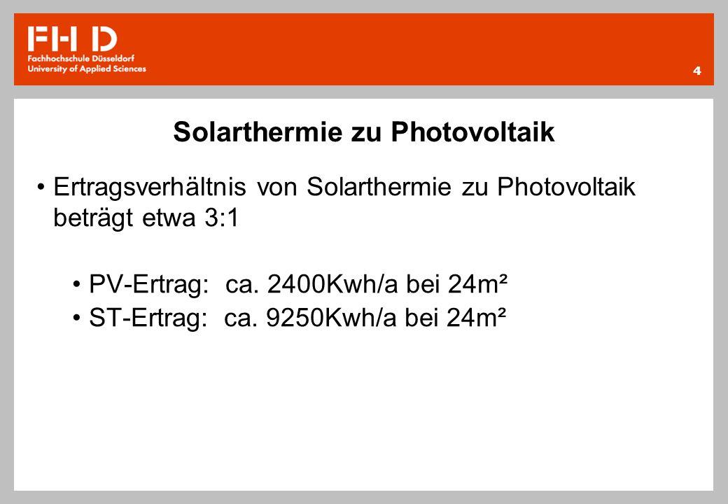 Solarthermie zu Photovoltaik Ertragsverhältnis von Solarthermie zu Photovoltaik beträgt etwa 3:1 PV-Ertrag: ca. 2400Kwh/a bei 24m² ST-Ertrag: ca. 9250