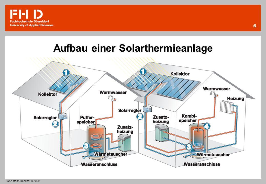 Aufbau einer Solarthermieanlage 1.Sonnenstrahlen erwärmen den Kollektor und das darin enthaltene Wasser 2.