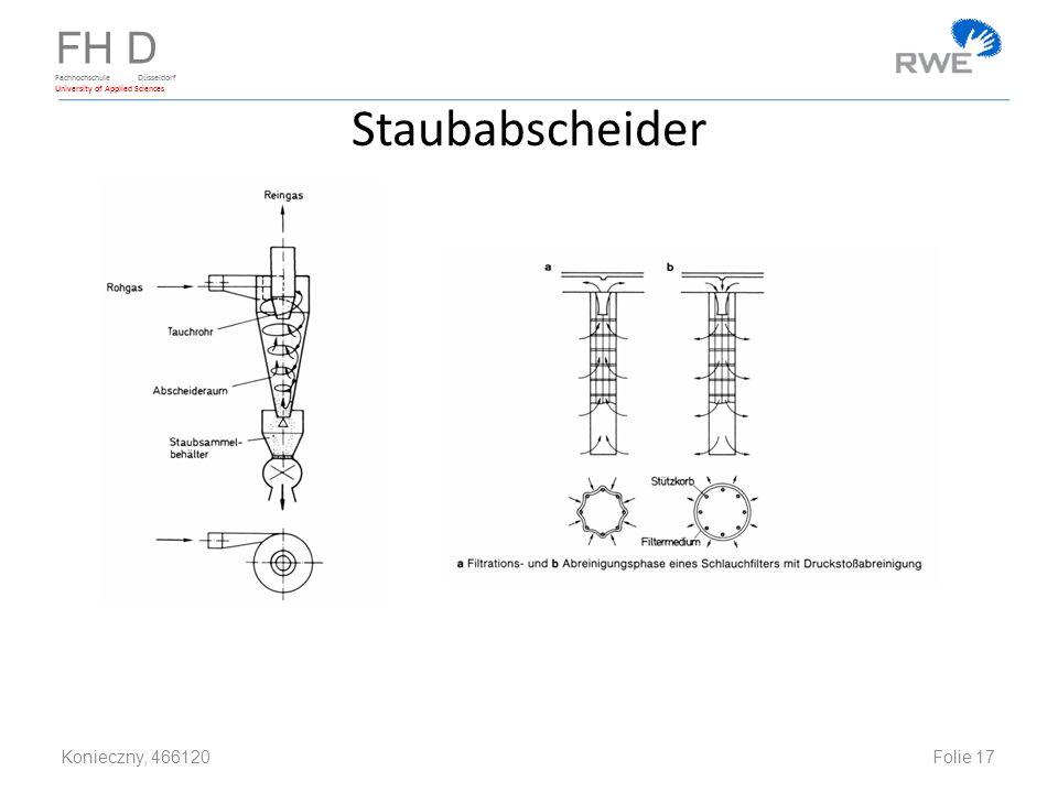 FH D Fachhochschule Düsseldorf University of Applied Sciences Staubabscheider Konieczny, 466120 Folie 17