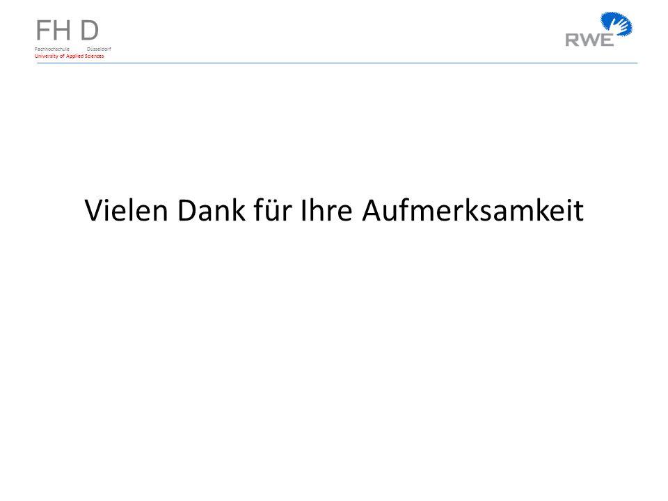 FH D Fachhochschule Düsseldorf University of Applied Sciences Vielen Dank für Ihre Aufmerksamkeit