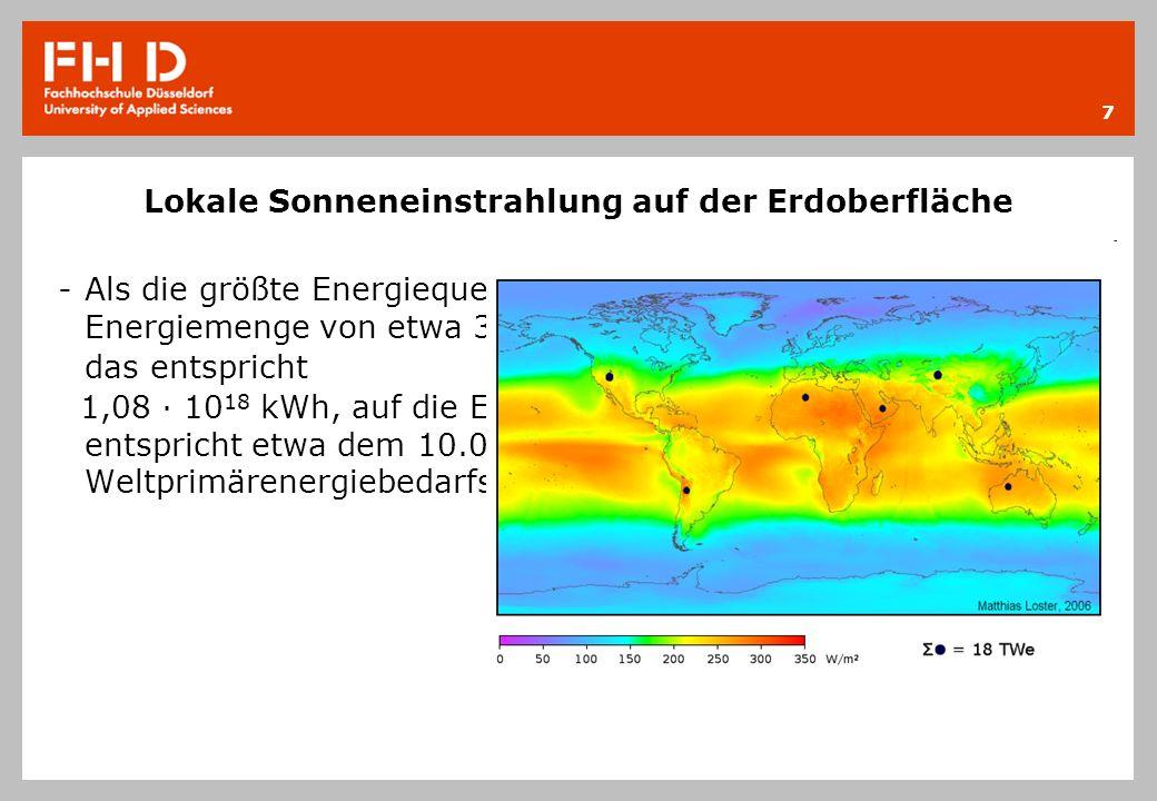 Lokale Sonneneinstrahlung in Deutschland -Die lokale Sonneneinstrahlung beträgt beispielsweise etwa 1.000 kWh pro Quadratmeter und Jahr in Mitteleuropa.
