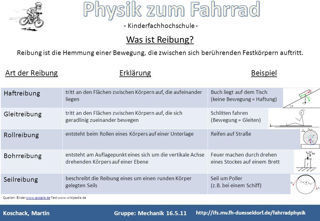 - Kinderfachhochschule - Koschack, MartinGruppe: Mechanik, 1.2.11 http://ifs.mv.fh-duesseldorf.de/fahrradphysik wie und wodurch entsteht durch Reibung Wärme.