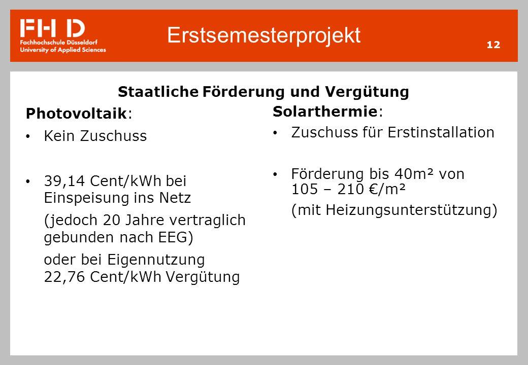 Erstsemesterprojekt 12 Staatliche Förderung und Vergütung Photovoltaik: Kein Zuschuss 39,14 Cent/kWh bei Einspeisung ins Netz (jedoch 20 Jahre vertrag