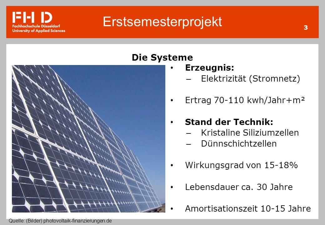 Erstsemesterprojekt 3 Die Systeme Erzeugnis: – Elektrizität (Stromnetz) Ertrag 70-110 kwh/Jahr+m² Stand der Technik: – Kristaline Siliziumzellen – Dün
