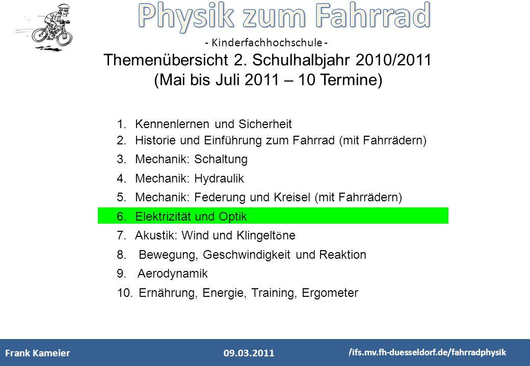- Kinderfachhochschule - Frank KameierElektrik Optik 03.04.11 http://ifs.mv.fh-duesseldorf.de/fahrradphysik - das Antriebsrädchen benötigt Kontakt zum Reifen - ein Magnet rotiert - das rotierende Magnetfeld in der Spule erzeugt Wechselstrom Was ist eine Spule.