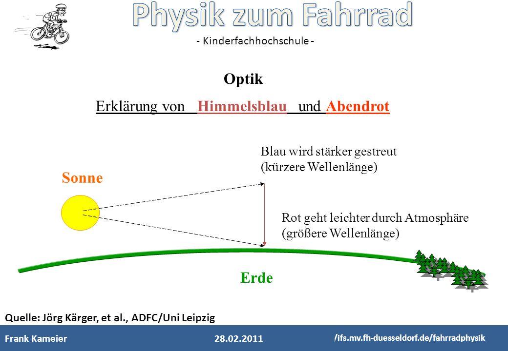 - Kinderfachhochschule - Frank Kameier http://ifs.mv.fh-duesseldorf.de/fahrradphysik 28.02.2011 Optik Erklärung von Himmelsblau und Abendrot Blau wird
