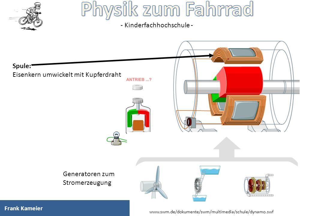 - Kinderfachhochschule - Spule: Eisenkern umwickelt mit Kupferdraht Generatoren zum Stromerzeugung Frank Kameier www.swm.de/dokumente/swm/multimedia/s