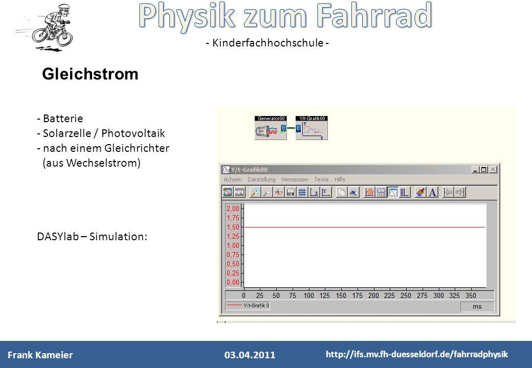 - Kinderfachhochschule - http://ifs.mv.fh-duesseldorf.de/fahrradphysik Wechselstrom - Generator (Magnetfeld rotiert in einer Spule) - 50 Hz Netzfrequenz DASYlab – Simulation: 03.04.2011 Frank Kameier