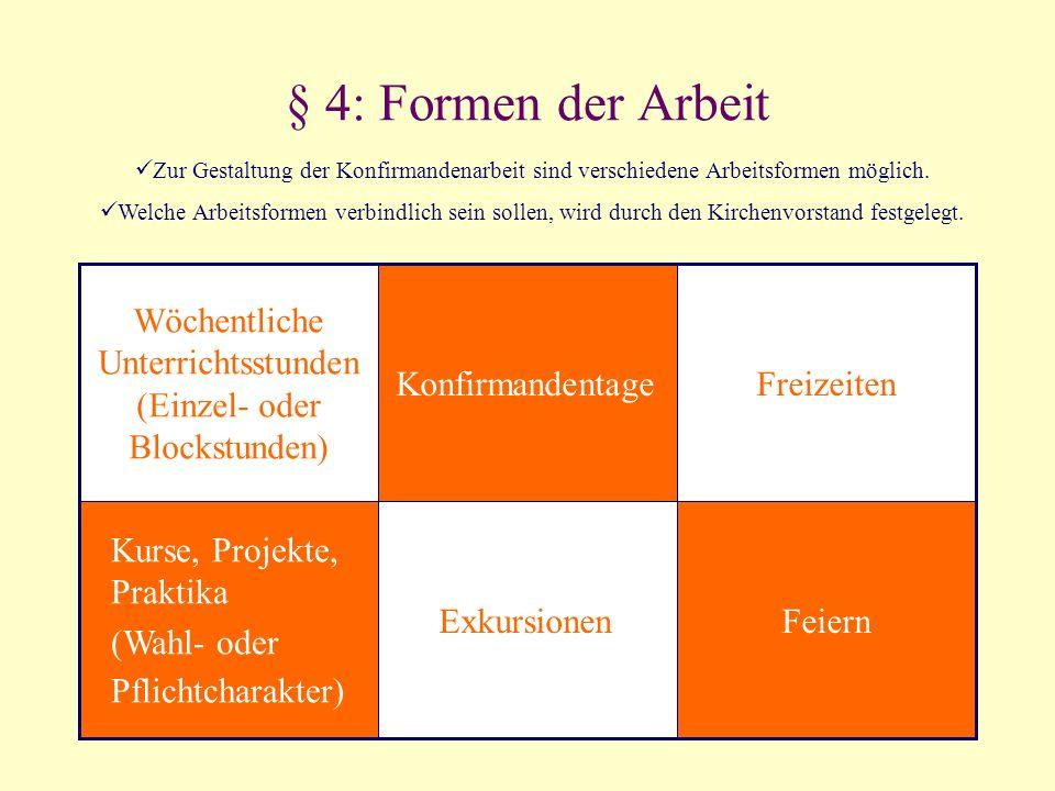 § 4: Formen der Arbeit FeiernExkursionen Kurse, Projekte, Praktika (Wahl- oder Pflichtcharakter) FreizeitenKonfirmandentage Wöchentliche Unterrichtsst