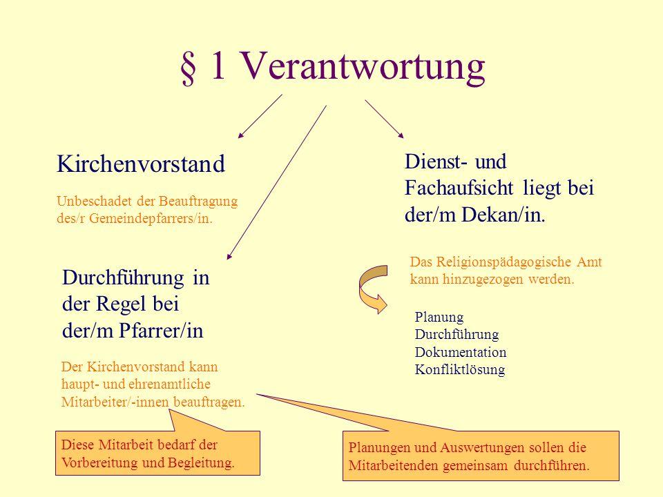 § 1 Verantwortung Kirchenvorstand Unbeschadet der Beauftragung des/r Gemeindepfarrers/in. Dienst- und Fachaufsicht liegt bei der/m Dekan/in. Das Relig