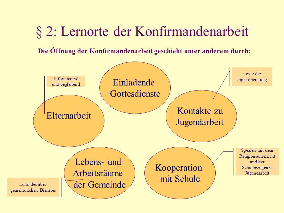 § 2: Lernorte der Konfirmandenarbeit Elternarbeit Einladende Gottesdienste Lebens- und Arbeitsräume der Gemeinde Kooperation mit Schule Kontakte zu Ju