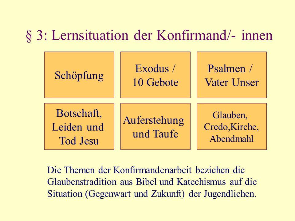 § 3: Lernsituation der Konfirmand/- innen Schöpfung Exodus / 10 Gebote Botschaft, Leiden und Tod Jesu Auferstehung und Taufe Psalmen / Vater Unser Gla