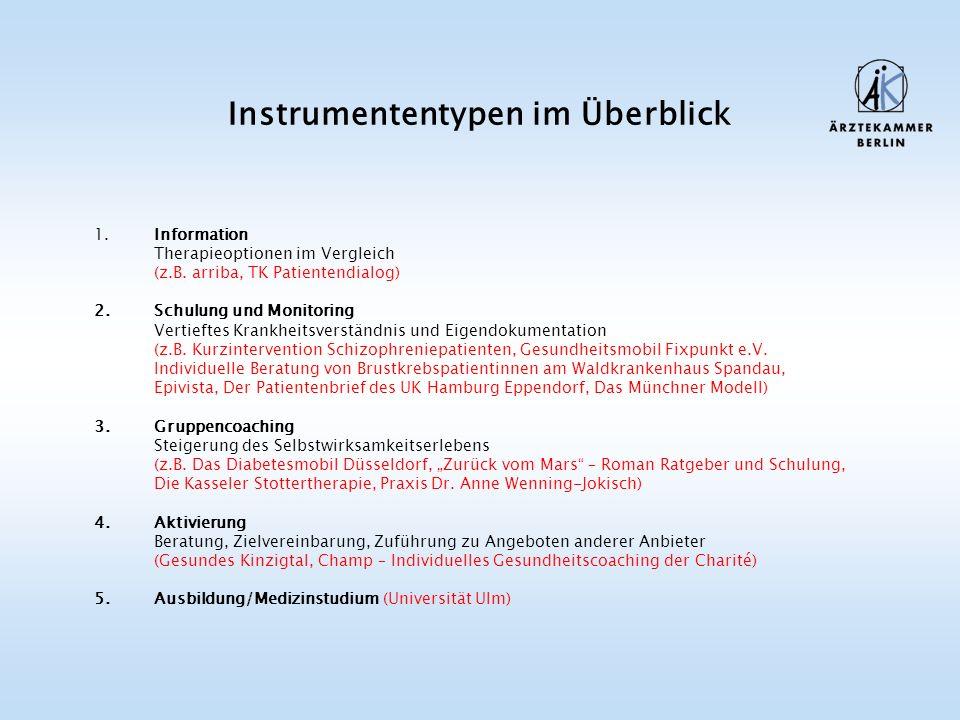Instrumententypen im Überblick 1. Information Therapieoptionen im Vergleich (z.B.