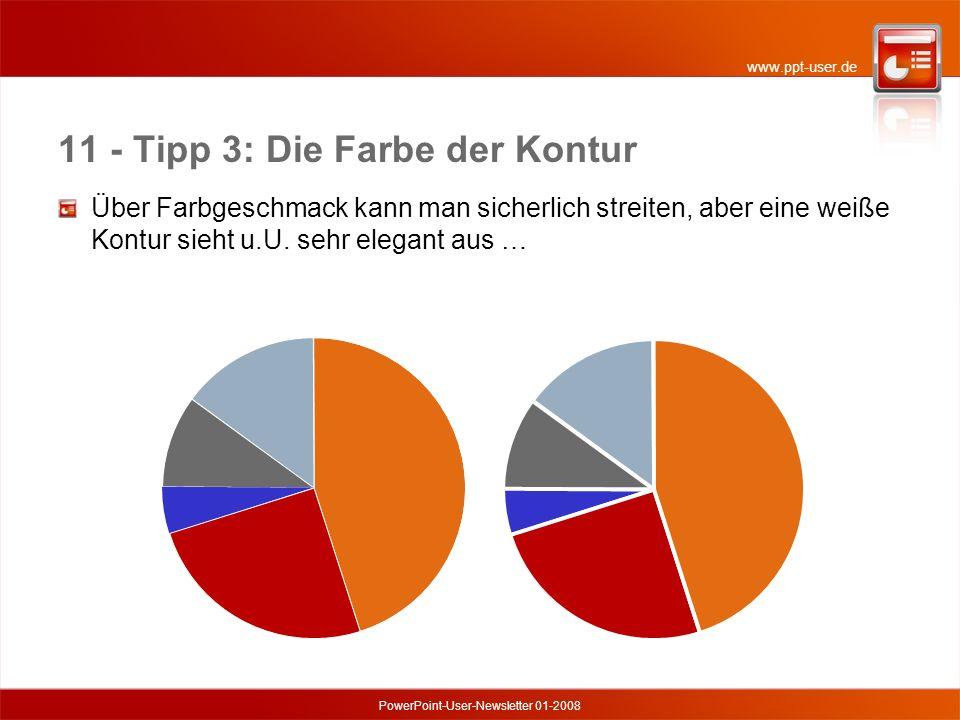 www.ppt-user.de PowerPoint-User-Newsletter 01-2008 11 - Tipp 3: Die Farbe der Kontur Über Farbgeschmack kann man sicherlich streiten, aber eine weiße Kontur sieht u.U.