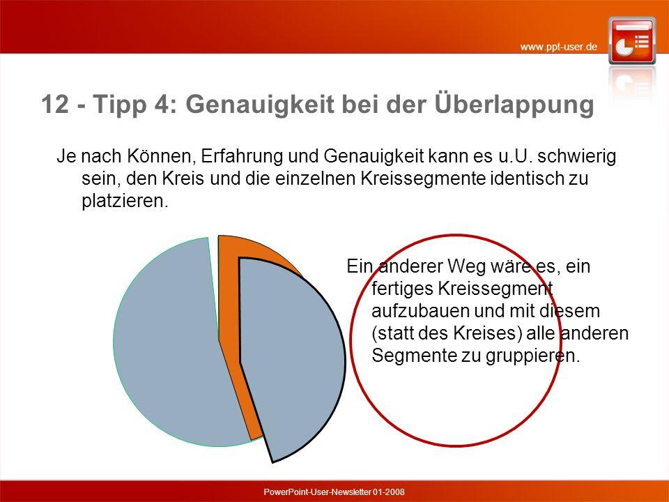 www.ppt-user.de PowerPoint-User-Newsletter 01-2008 12 - Tipp 4: Genauigkeit bei der Überlappung Je nach Können, Erfahrung und Genauigkeit kann es u.U.