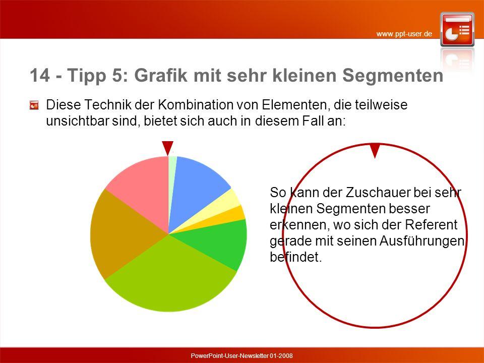 www.ppt-user.de PowerPoint-User-Newsletter 01-2008 14 - Tipp 5: Grafik mit sehr kleinen Segmenten Diese Technik der Kombination von Elementen, die teilweise unsichtbar sind, bietet sich auch in diesem Fall an: So kann der Zuschauer bei sehr kleinen Segmenten besser erkennen, wo sich der Referent gerade mit seinen Ausführungen befindet.