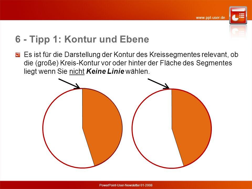 www.ppt-user.de PowerPoint-User-Newsletter 01-2008 6 - Tipp 1: Kontur und Ebene Es ist für die Darstellung der Kontur des Kreissegmentes relevant, ob die (große) Kreis-Kontur vor oder hinter der Fläche des Segmentes liegt wenn Sie nicht Keine Linie wählen.