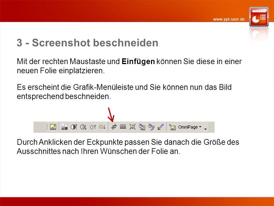 www.ppt-user.de 3 - Screenshot beschneiden Mit der rechten Maustaste und Einfügen können Sie diese in einer neuen Folie einplatzieren.