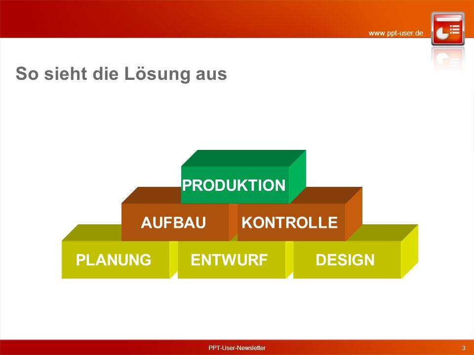www.ppt-user.de PPT-User-Newsletter3 So sieht die Lösung aus PLANUNGENTWURFDESIGN AUFBAUKONTROLLE PRODUKTION
