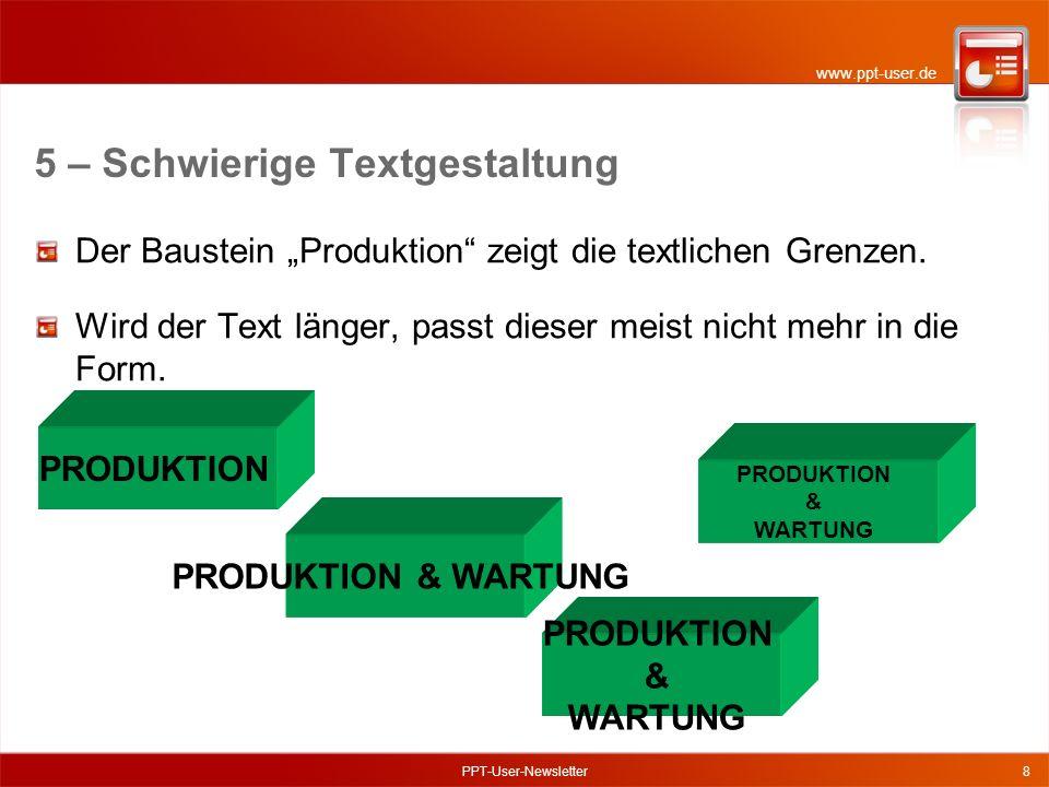 www.ppt-user.de PPT-User-Newsletter8 Der Baustein Produktion zeigt die textlichen Grenzen.