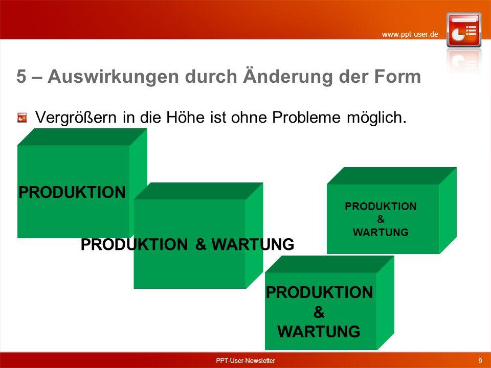 www.ppt-user.de PPT-User-Newsletter9 Vergrößern in die Höhe ist ohne Probleme möglich.