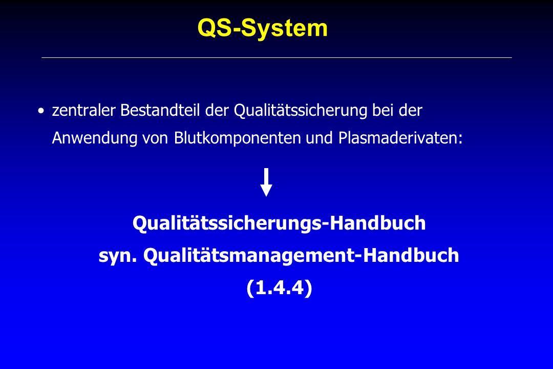 QS-System zentraler Bestandteil der Qualitätssicherung bei der Anwendung von Blutkomponenten und Plasmaderivaten: Qualitätssicherungs-Handbuch syn. Qu