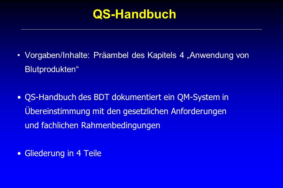 QS-Handbuch Vorgaben/Inhalte: Präambel des Kapitels 4 Anwendung von Blutprodukten QS-Handbuch des BDT dokumentiert ein QM-System in Übereinstimmung mi