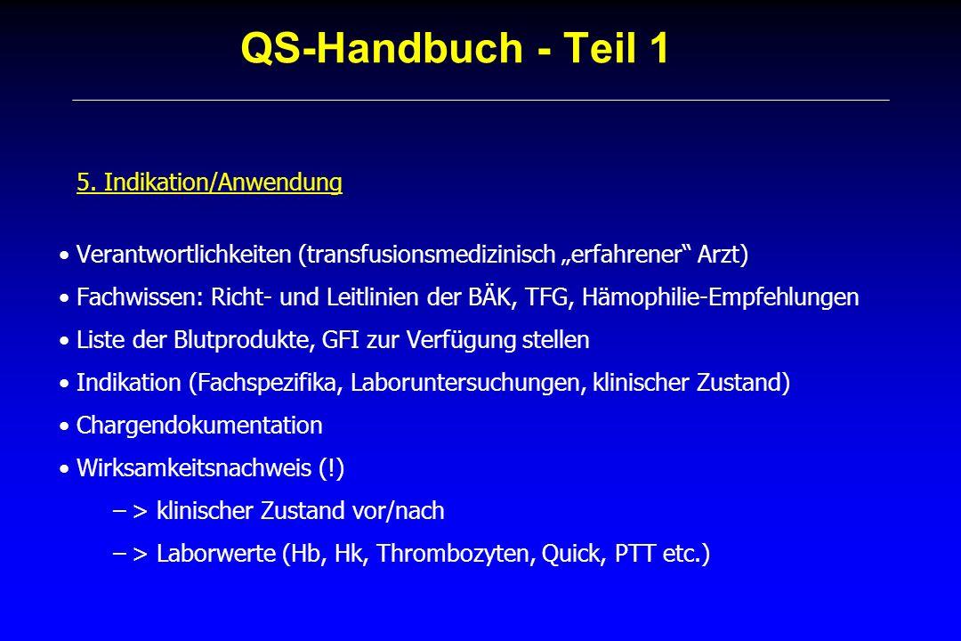 QS-Handbuch - Teil 1 5. Indikation/Anwendung Verantwortlichkeiten (transfusionsmedizinisch erfahrener Arzt) Fachwissen: Richt- und Leitlinien der BÄK,