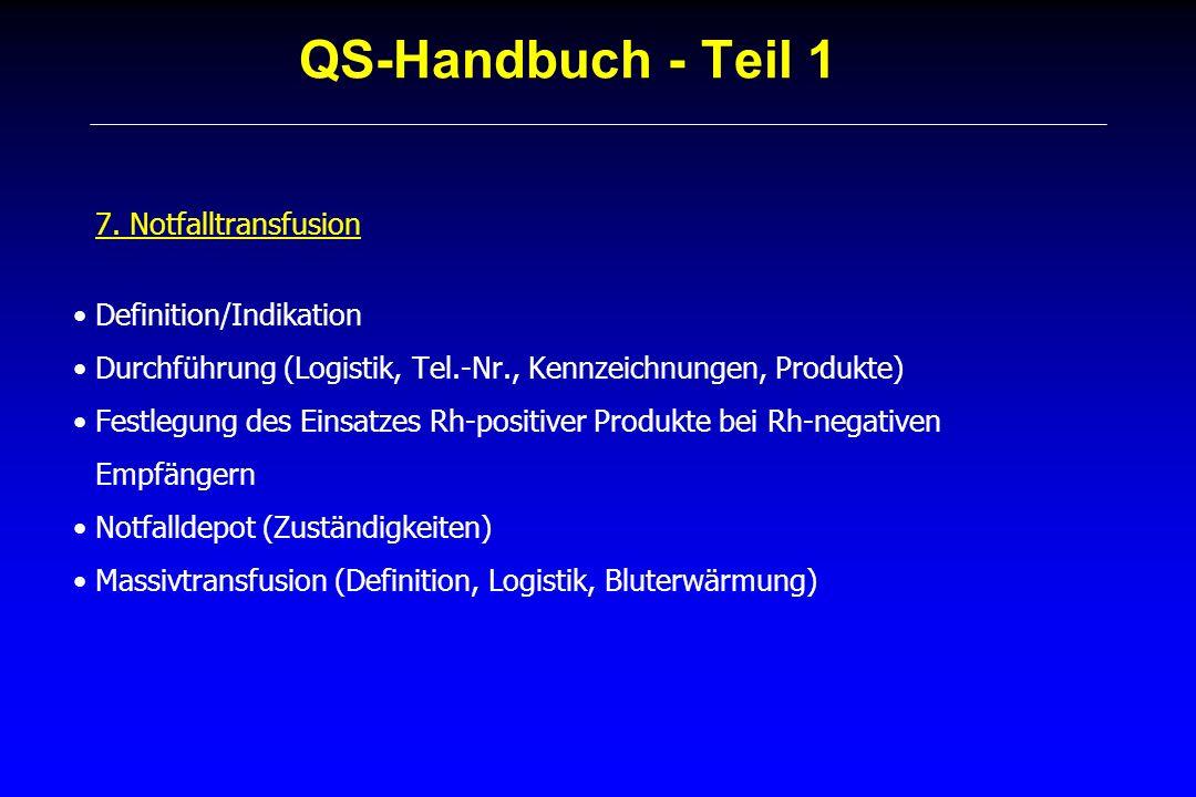 QS-Handbuch - Teil 1 7. Notfalltransfusion Definition/Indikation Durchführung (Logistik, Tel.-Nr., Kennzeichnungen, Produkte) Festlegung des Einsatzes