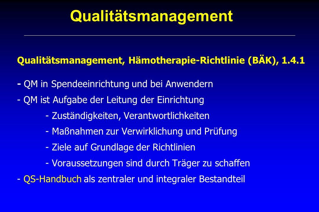 Qualitätsmanagement Qualitätsmanagement, Hämotherapie-Richtlinie (BÄK), 1.4.1 - QM in Spendeeinrichtung und bei Anwendern - QM ist Aufgabe der Leitung