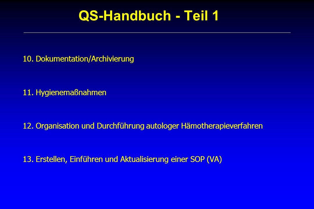 QS-Handbuch - Teil 1 10. Dokumentation/Archivierung 11. Hygienemaßnahmen 12. Organisation und Durchführung autologer Hämotherapieverfahren 13. Erstell