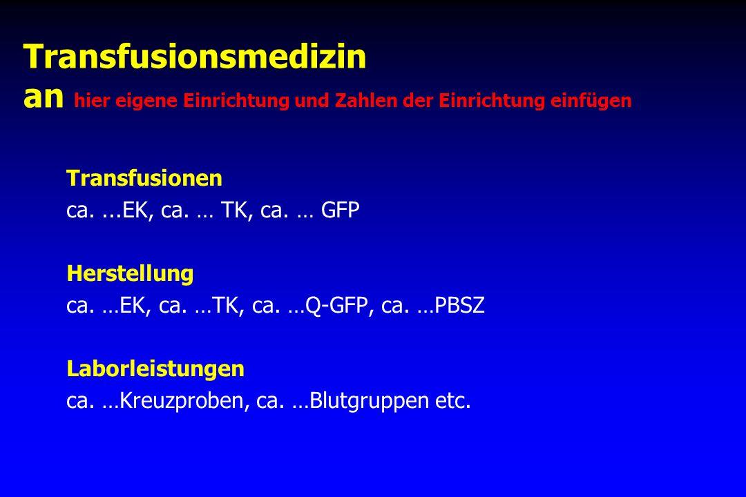 Transfusionsmedizin an hier eigene Einrichtung und Zahlen der Einrichtung einfügen Transfusionen ca....EK, ca. … TK, ca. … GFP Herstellung ca. …EK, ca