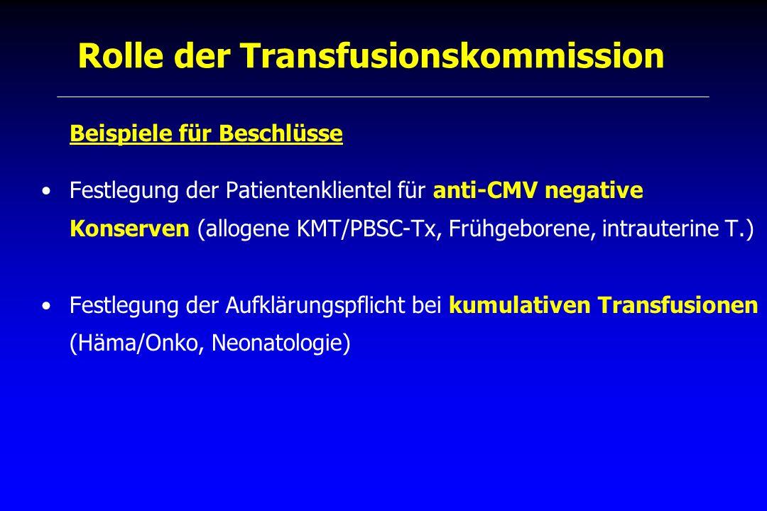 Rolle der Transfusionskommission Beispiele für Beschlüsse Festlegung der Patientenklientel für anti-CMV negative Konserven (allogene KMT/PBSC-Tx, Früh