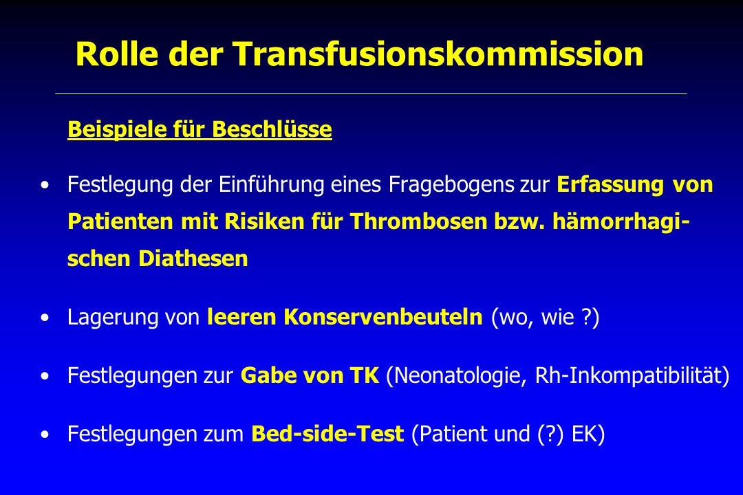 Rolle der Transfusionskommission Beispiele für Beschlüsse Festlegung der Einführung eines Fragebogens zur Erfassung von Patienten mit Risiken für Thro
