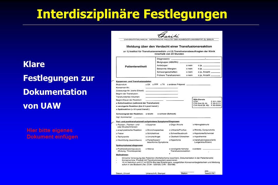 Interdisziplinäre Festlegungen Klare Festlegungen zur Dokumentation von UAW Hier bitte eigenes Dokument einfügen