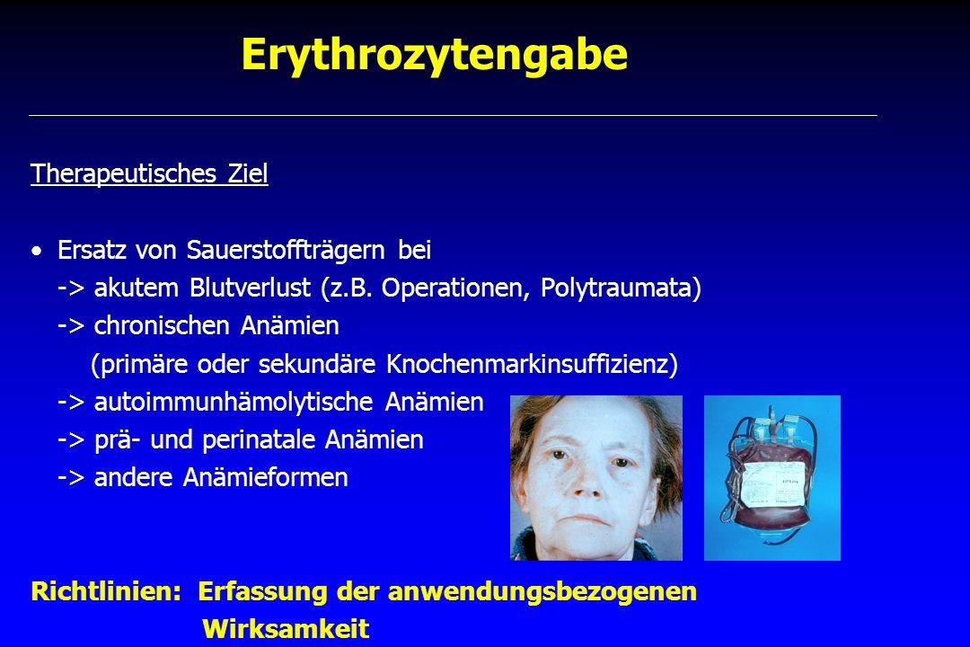 Erythrozytengabe Therapeutisches Ziel Ersatz von Sauerstoffträgern bei -> akutem Blutverlust (z.B. Operationen, Polytraumata) -> chronischen Anämien (