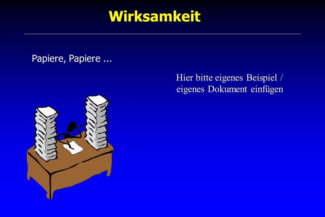 Wirksamkeit Papiere, Papiere... Hier bitte eigenes Beispiel / eigenes Dokument einfügen