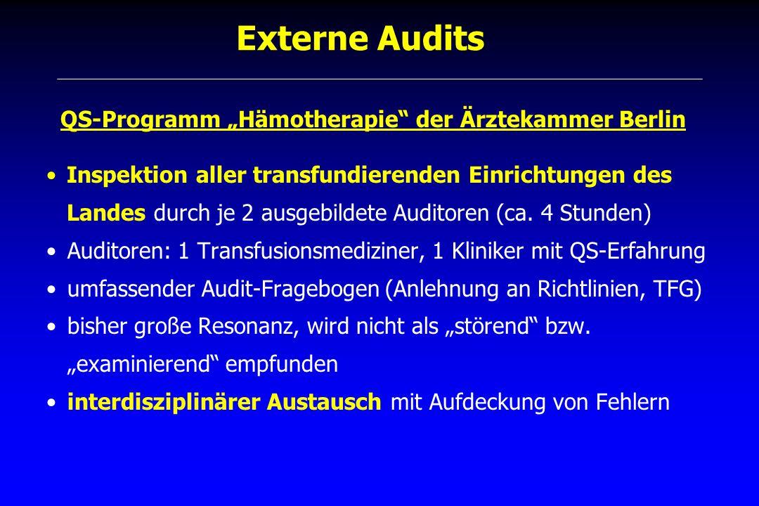 Externe Audits QS-Programm Hämotherapie der Ärztekammer Berlin Inspektion aller transfundierenden Einrichtungen des Landes durch je 2 ausgebildete Aud