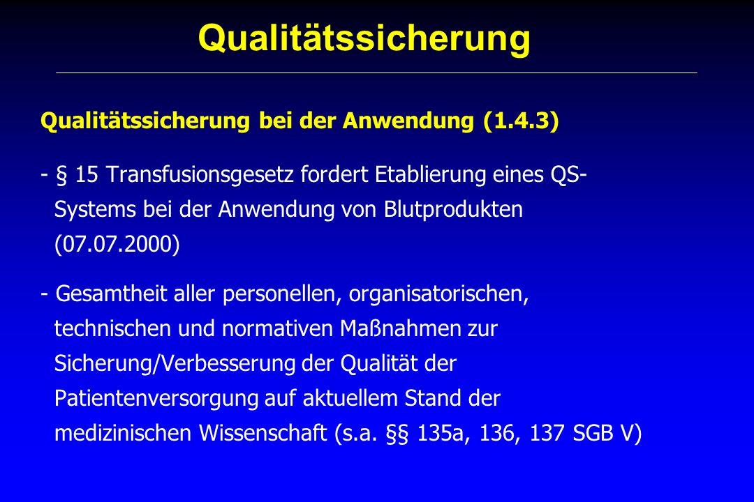 Qualitätssicherung Qualitätssicherung bei der Anwendung zentrale Personen/Bestandteile - Transfusionsverantwortlicher (1.4.3.1) -> schlägt vor, setzt um - Transfusionsbeauftragter (1.4.3.2) -> vor Ort - Leiter des immunhämatologischen Labors/Blutdepots (1.4.3.3) - Transfusionskommission (1.4.3.4) - Arbeitskreis für Hämotherapie (1.4.3.5) - transfundierender Arzt (1.4.3.6) - Qualitätsbeauftragter (1.6) -> überprüft