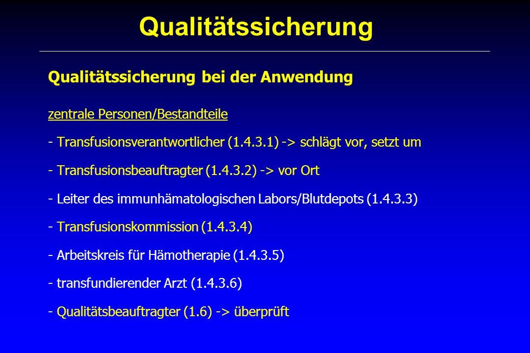 Qualitätssicherung Qualitätssicherung bei der Anwendung zentrale Personen/Bestandteile - Transfusionsverantwortlicher (1.4.3.1) -> schlägt vor, setzt