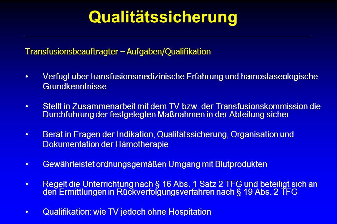 Qualitätssicherung Transfusionsbeauftragter – Aufgaben/Qualifikation Verfügt über transfusionsmedizinische Erfahrung und hämostaseologische Grundkennt