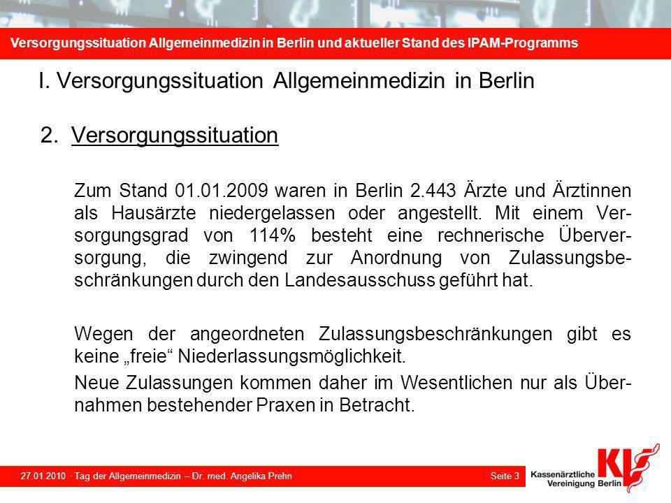 Versorgungssituation Allgemeinmedizin in Berlin und aktueller Stand des IPAM-Programms 27.01.2010 · Tag der Allgemeinmedizin – Dr.