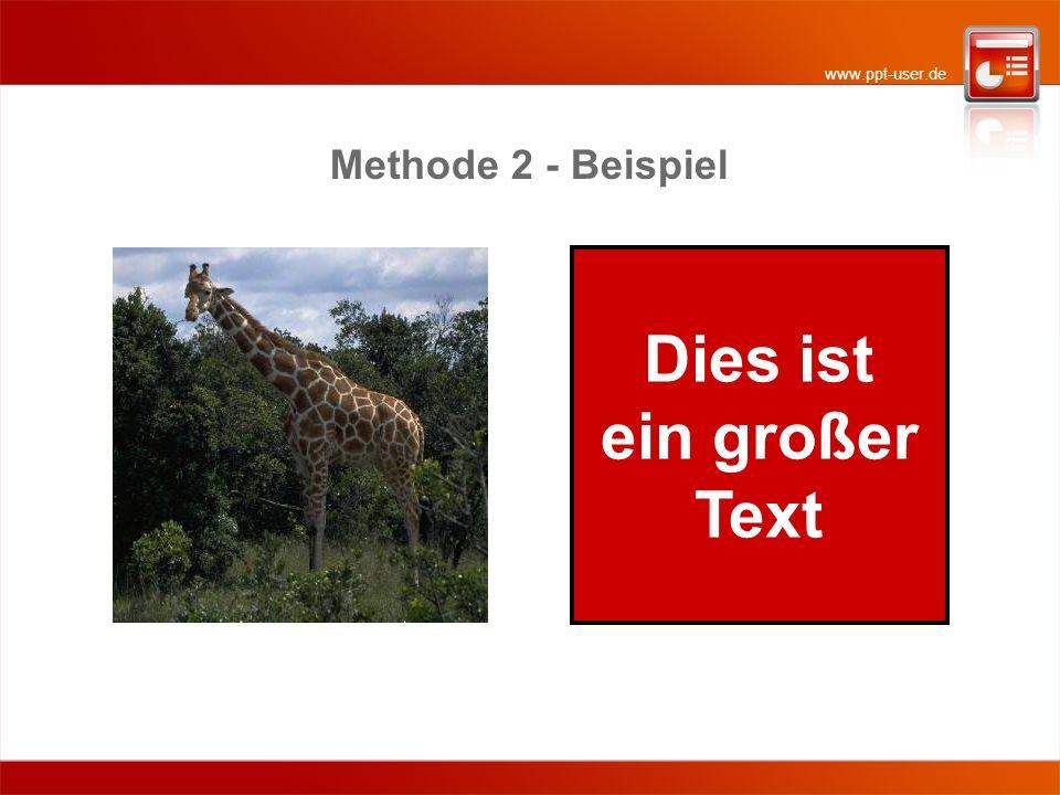 www.ppt-user.de Methode 2: Verdecktes Verkleinern (1) Das Foto wird zunächst groß eingefügt.