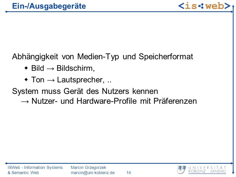 ISWeb - Information Systems & Semantic Web Marcin Grzegorzek marcin@uni-koblenz.de14 Ein-/Ausgabegeräte Abhängigkeit von Medien-Typ und Speicherformat Bild Bildschirm, Ton Lautsprecher,..