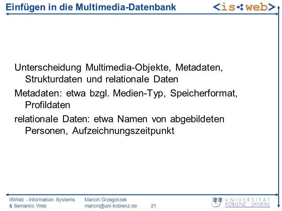 ISWeb - Information Systems & Semantic Web Marcin Grzegorzek marcin@uni-koblenz.de21 Einfügen in die Multimedia-Datenbank Unterscheidung Multimedia-Objekte, Metadaten, Strukturdaten und relationale Daten Metadaten: etwa bzgl.